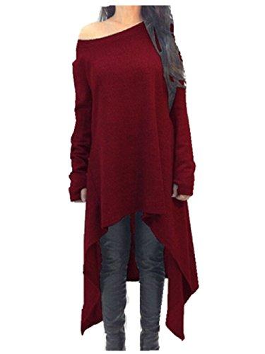 Qissy®Spring Donne Manica Lunga Irregolare Camicetta Jumper Allentato Felpa Abiti Sweater (L, Vino rosso)