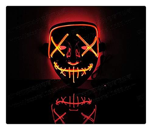 Z-one 1 Halloween PVC Smiley Maske Cosplay Led Kost¨¹m Maske leuchten f¨¹r Halloween Festival Party (Rot)