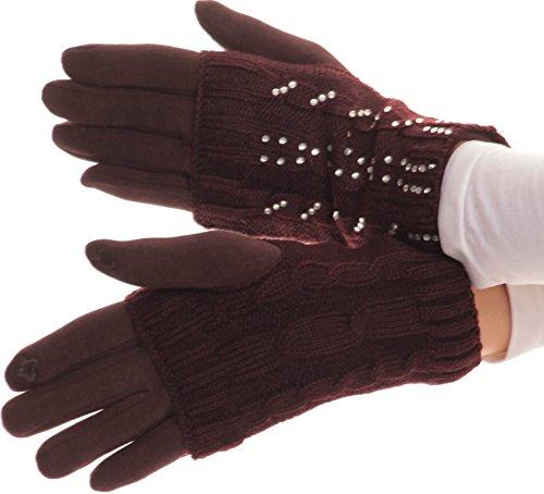 Sakkas Tam strass perle écran tactile Astuce Gant tricoté avec manches amovibles Marron