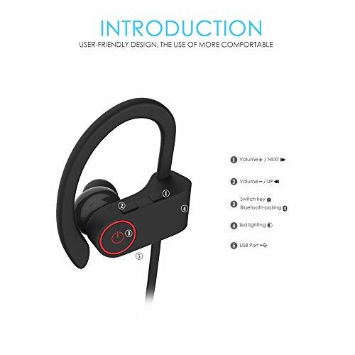 Bluetooth Kopfhörer, ALIENSX Kabellose Bluetooth 4.1 Sport Stereo In Ear Ohrhörer, Schweiß Resistant, CVC 6.0 Rauschunterdrückung mit Mikrofon, Sichern Fit, für Fitness/Workout/Jogging/Training usw (Schwarz) - 2