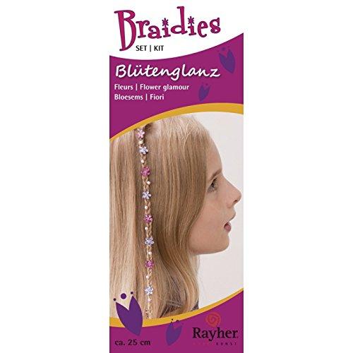 Rayher Hobby 1523700 Braidy Set cheveux fleur Brillance, Set de 61 pièces, longueur 25 cm
