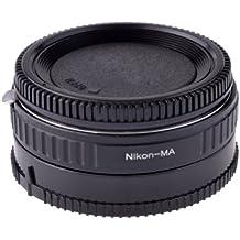 Neewer metálico de color negro con adaptador de montura de lente de cristal óptico para Nikon a soporte de Minolta MA/Sony Alpha DSLR, compatible con Sony A100, A200, A300, A350, A700, A900, A230, A330, A380, A850, A500, A550, A450, A290, A390, A560, A580 A33, A35, A55, A65, A57, A77, A99
