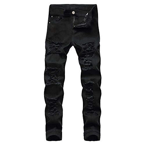 GreatestPAK Gerade Denim Pants Hosen Herren Jeans Casual Herbst Winter Baumwolle Zerrissene Loch Hosen, Schwarz,36/L