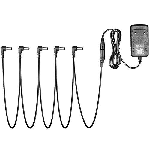 Neewer Tragbare Pedal Power Adapter Versorgung 9V DC 1A mit 5 Wege Daisy Ketten Schnüre für Gitarren-Effekt-PedalSchnüre
