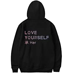SERAPHY BTS Hoodie BTS Love Yourself Her Unisex con Sudadera con Capucha Fleece Pullover Suga Jin Jimin Jung Kook J-Hope Rap-Monster V Negro M