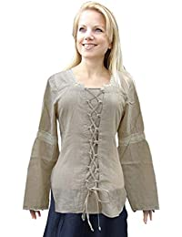 Medieval Costume - Long Sleeved Blouse - Front Lacing - Beige