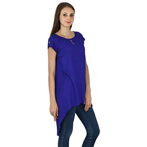 Summer Casual Tunique Manches Courtes Sundress Vêtements Top Bleu royal