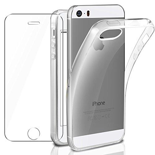 Leathlux Cover iPhone se/iPhone 5/5S Custodia Pellicola Protettiva in Vetro Temperato, Morbido Trasparente Silicone Custodie Protettivo TPU Gel ...