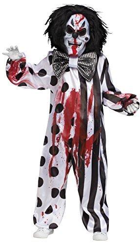 5 Stück Herren blutend Killer Toter Zombie unheimlich Clown + Blood Halloween Kostüm Kleid Outfit - Schwarz, One Size (Clown Outfits Für Kinder)