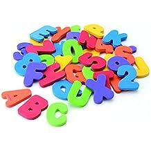 ZZM Juego de 36 piezas de mariposas alfanuméricas para baño, puzzle de goma EVA suave