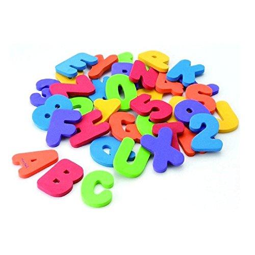 ZZM Juego de 36 piezas de mariposas alfanuméricas para baño, puzzle de goma EVA suave para niños, juguetes de bebé, juguete para niños