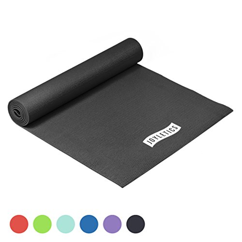 Joyletics Yogamatte -50- Rutschfeste und Abriebfeste Matte für Yoga, Pilates, Bodentraining oder Gymnastik - handlich und leicht - Maße 183 x 61 x 0,5 cm in schwarz