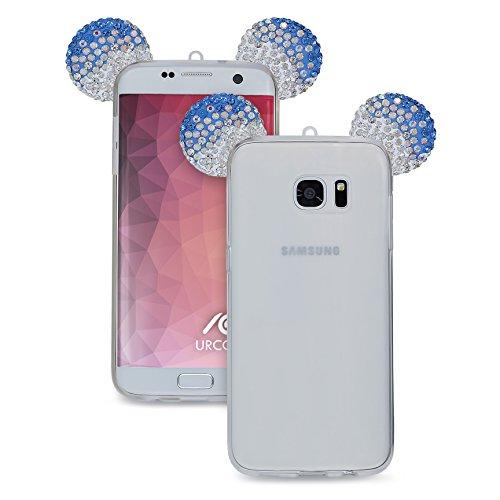 Urcover® Samsung Galaxy S7 Edge Handyhülle Maus Ohren Bling Ear Schutzhülle Case Cover Etui Crystal Bär Maus Ohren Girl TPU Diamant Blau Silber Crystal Bling Case Cover