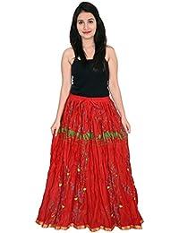Decot Women's Cotton Ethnic Long Skirt (Red)