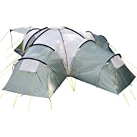 Skandika Korsika Dome Tent with 3 Big Sleeping Cabins, 210 cm Peak Height and 5000 mm Water Column, Green/Beige, 10-Berth