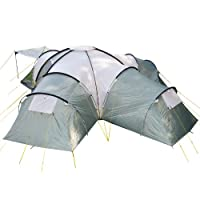 Skandika Korsika Dome Tent with 3 Big Sleeping Cabins, 210 cm Peak Height and 5000 mm Water Column, Green/Beige, 10-Berth 2