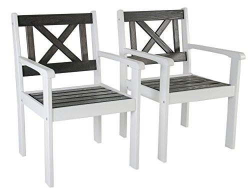 Ambientehome Garten Sessel Stuhl Massivholz Gartenmöbel EVJE, Weiß/Taupegrau, 2-teiliges Set