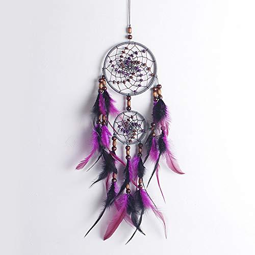 YUJIE Dream Catcher,Handmade Purple Dreamcatcher Feather Whith Beads De Madera Decoraciones Boda para Niños Habitación Ornamento Craft Regalo para Mujer Niña