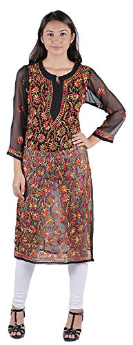 Women's Black Faux Georgette Hand Embroidered Chikankari Kurti (Small)