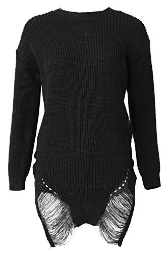 Ladies Distressed Long Knitted Jumper EUR Size 36-42 Noir
