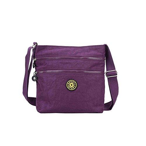 Hautefordiva , Damen Schultertasche schwarz M violett