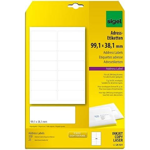 Sigel LA321 - Etiquetas para direcciones, 350 unidades en 25 hojas, 99.10 x 38.10 mm (A4)