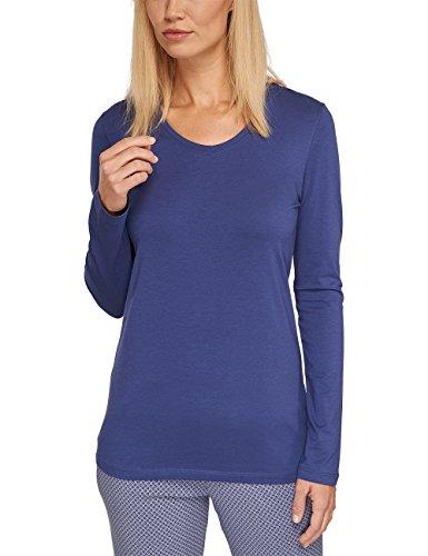 Schiesser Damen Schlafanzugoberteil Shirt 1/1 Arm, Blau (dunkelblau 803), 46