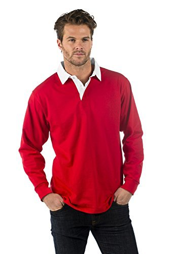 Bruntwood Aufgeld Langarm Rugby Hemd - Premium Long Sleeve Rugby Shirt - Herren & Damen - 280GSM - Polyester/Baumwolle (Rot, XL) (Rugby-shirts Bestickt)