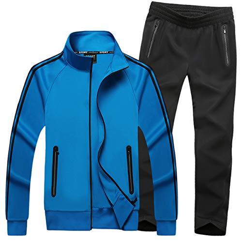 Mirecoo Herren Jogginganzug Trainingsanzug Fitness, Blau 18, L