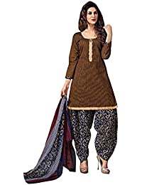 Terramart_ Salwar Set Material For Girls / Women - Chanderi Cotton ( Brown, Navy Blue, White & Red )