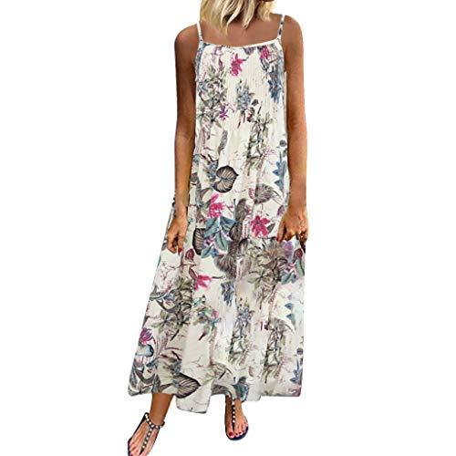 Myfilma ◔◡◔ Frauen der 80er Jahre Vintage Bohemian Ethnic Style Sling Print Floral ärmellose O-Neck Straps Strand Maxi-Kleid -