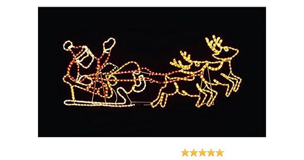 Beleuchteter Schlitten Weihnachtsdeko.Weihnachtsdeko Beleuchteter Weihnachtsmann In Schlitten Mit Rentieren Silhouette 147cm