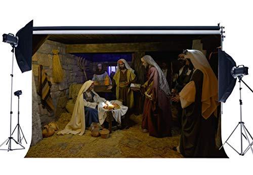 GzHQ Geburt Jesus Backdrop 10X8FT Vinyl Krippe Geschichte Kulissen Alte Scheune Jungfrau Maria Hirte Christus Fotografie Hintergrund Weihnachten Krippe Urlaub Bibelschule QB197 - 8' Vinyl