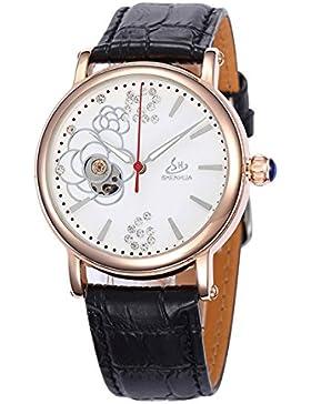 Elegant Schwan Strass Lederband Damen Automatik Mechanische Uhr, Weiß&Schwarz
