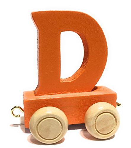 Buchstabenzug bunt | bunte Lok - farbige Waggons | Wunschname zusammenstellen | Holzeisenbahn | EbyReo® Namenszug aus Holz | personalisierbar | auch als Geschenk Set (Farbe Orange Buchstabe D)