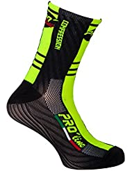 Pro-Line F Compression Cycling Socks - Calcetines de ciclismo, color amarillo y negro, 1 par, talla única