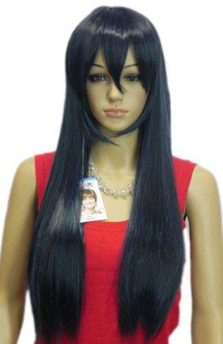 Qiyun Fonce Bleu Longue Raide Resistant a la Chaleur Fibre Synthetique Cheveux Complete Cosplay Anime Costume Perruque