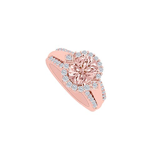 Rose Ring Diamond Gold Engagement (Morganite and Diamonds Rose Gold Halo Engagement Ring)