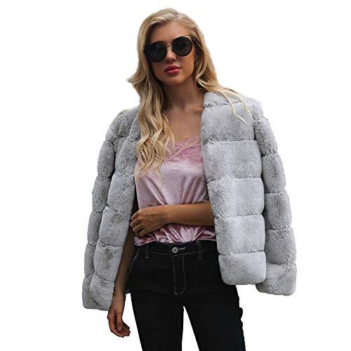 Reputedc.Abrigo de Piel sintética Faux Fox Fur Winter Jacket