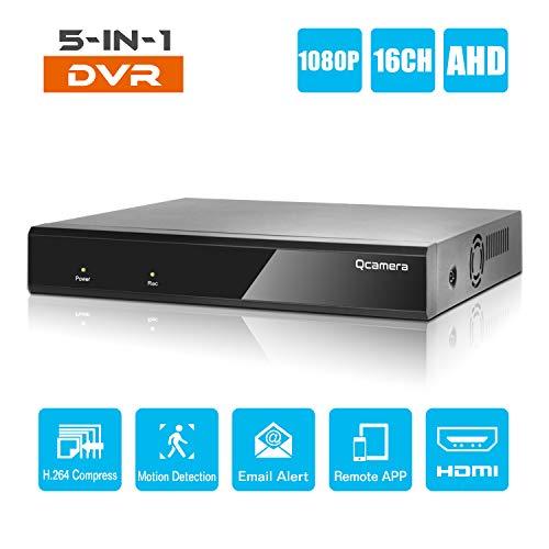 Q-camera 16CH 1080 P Full HD Hybrid AHD/TVI/CVI/Analog/Onvif IP DVR H.264 CCTV Videorecorder Bewegungserkennung P2P Fernüberwachung für Home Security Surveillance System Kamera (Keine Festplatte) H. 264 Hybrid