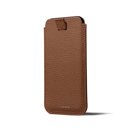 Lucrin - Custodia per iPhone X con linguetta - Nero - Pelle Ruvida Cognac