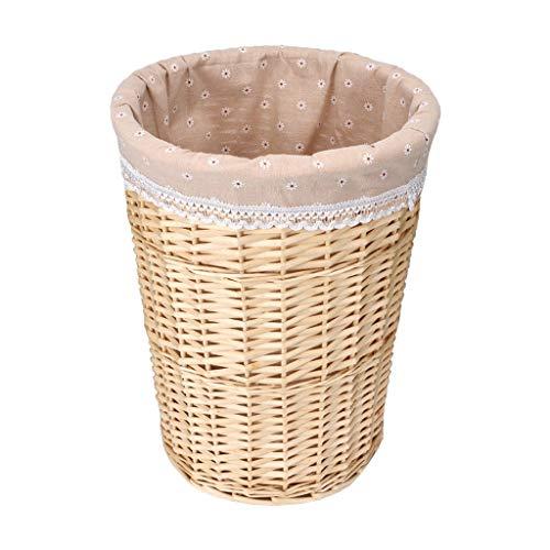WJS Wicker Rattan Korb Hotel Zimmer Handtuch Badetuch Kleidung Lagerung gewebt Basketful (Farbe : Holzfarbe, größe : Small) (Wicker Lagerung Körbe Für Große)