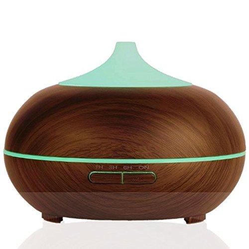 hisMane 300ml Essential Oil Diffuser, Dark Wood Finish Ultrasonic Cool Mist Humidifier for Office Home Bedroom Living Room Study Yoga Spa (Dark Wood Finish)