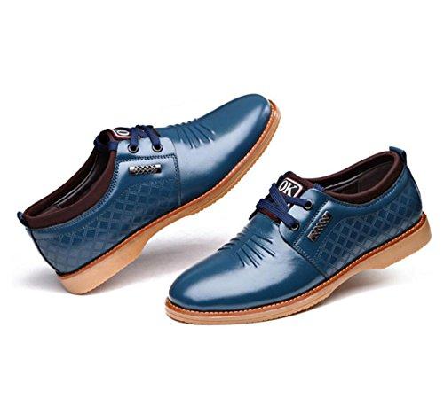 GRRONG Herren Leder Schuhe Oxford Freizeit Echt Leder Mode Schwarz Braun Blau Blue