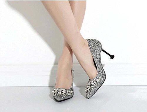 ... 8cm Pumpe Stilett High Heels Sequins Diamant Sandalen Hochzeit Schuhe  Frau Mode Spitze Gericht Schuhe Abendschuhe ...