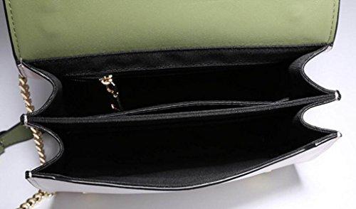 FZHLY La Versione Coreana Di Pelle Bovina Borse Nuovo Pacchetto Catena,Black LightGreen