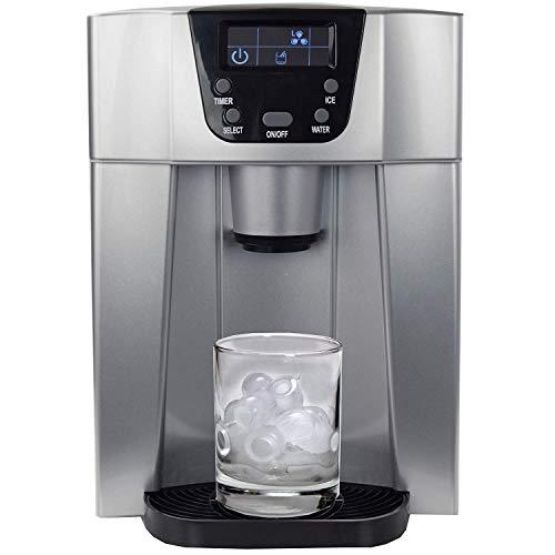 BETEC Dispensador de hielo SLIM • Máquina de hielo • Máquina de hielo con función de dispensador + dispensador de agua • 2 tamaños de cubitos de hielo • Pantalla LED • hasta 12 kg / día • plateado