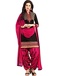 Nivah Fashion Women's Pure Cotton Embroidery Patiyala Salwar Suit (Free Size_Semi-Stich) G19-Black