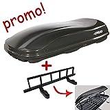 Coffre de toit Marlin 680L noir métallisé + porte-skis pour coffres de toit