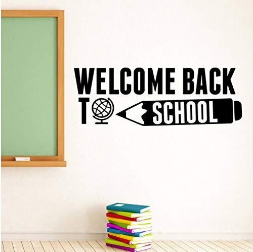 Zlxzlx Schule Wandtattoo Willkommen Zurück Zu Schule Zitat Wandaufkleber Bildung Inspirierend Zitat Wand Poster Vinyl Schriftzug Kunst 57 * 20 Cm